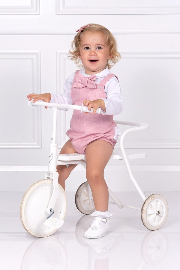 Babidu Pink Bow Romper With Blouse