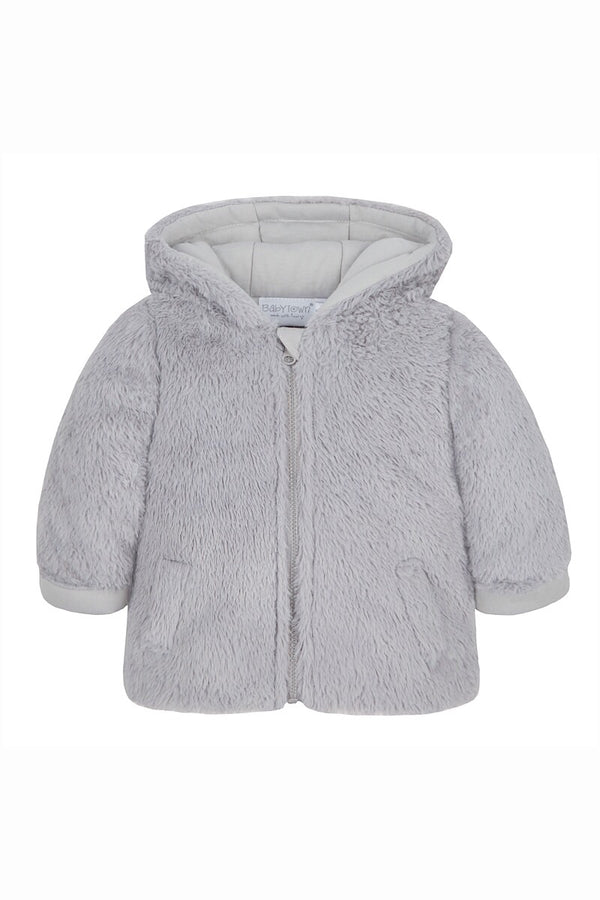 Grey Fur Hooded Zip Coat