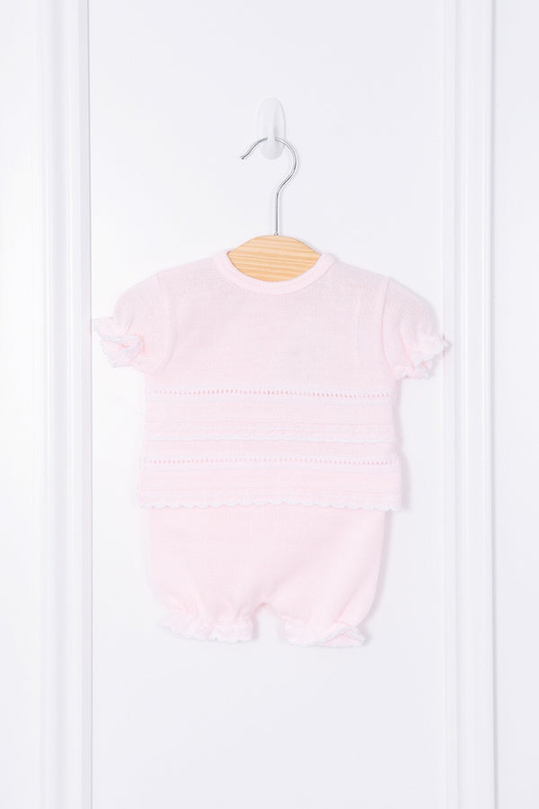 Pink Knit Pointelle Stripe Top And Shorts