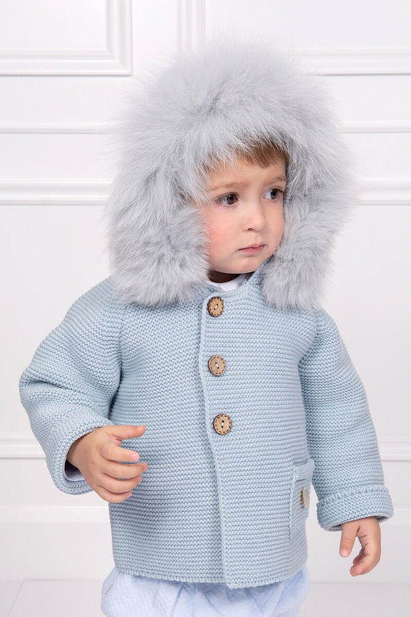 Pangasa Blue Knitted Fur Hood Coat
