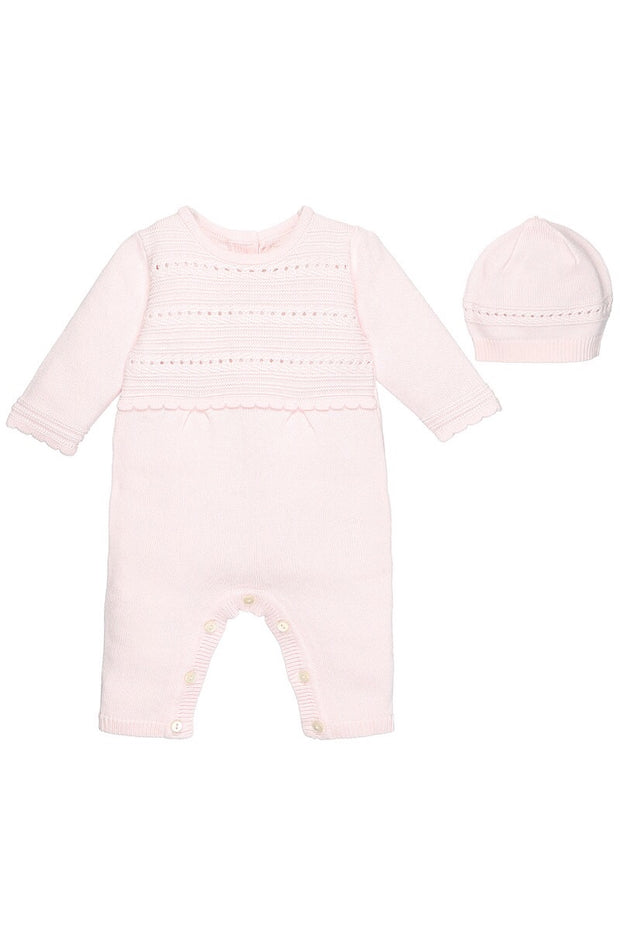 Pink Knit Pointelle Romper With Hat