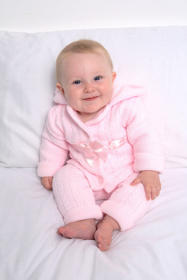 Pink Hooded Bow Cardigan And Trousers