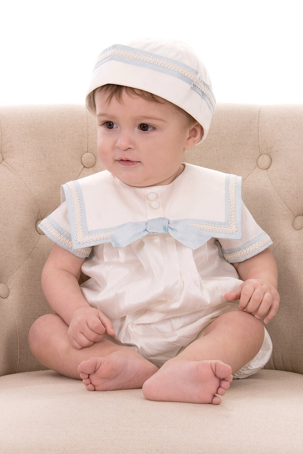 Silk Piped Sailor Romper & Hat