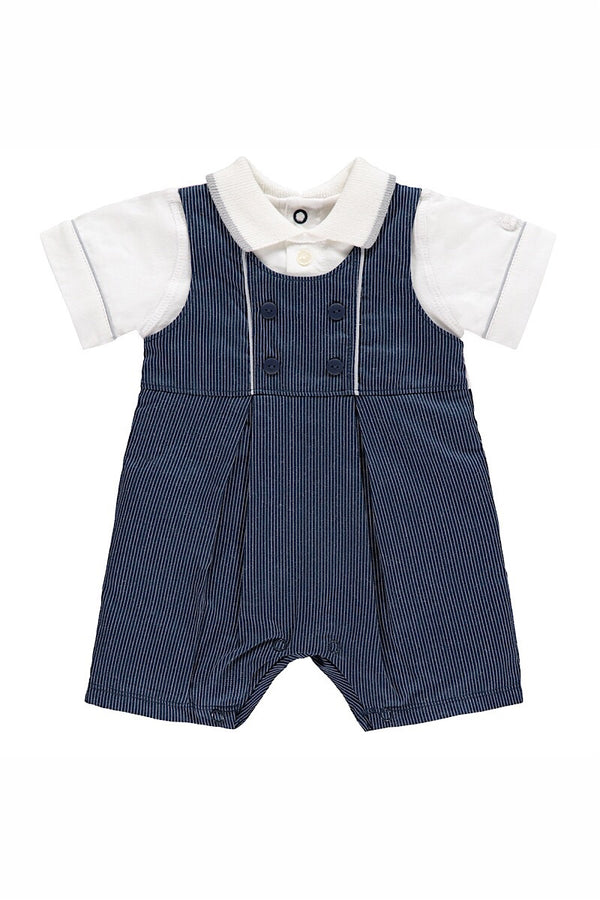 Emile Et Rose Navy Woven Dungarees With Knit Collar