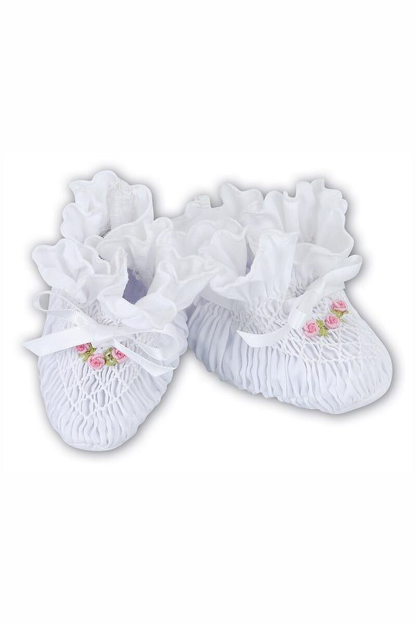 Sarah Louise White Smocked Booties