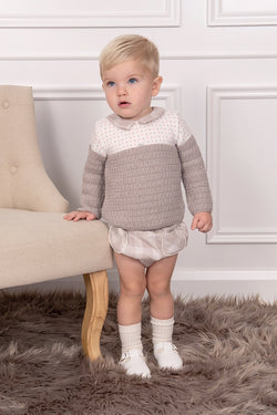 Foque Beige Spotted Jumper With Checked Shorts