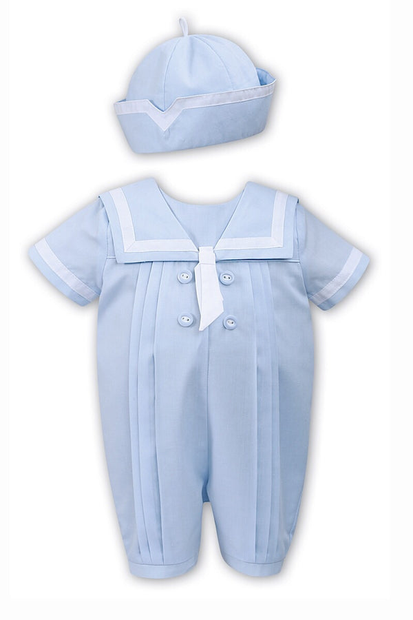 Sarah Louise Blue Sailor White Trim Romper With Hat