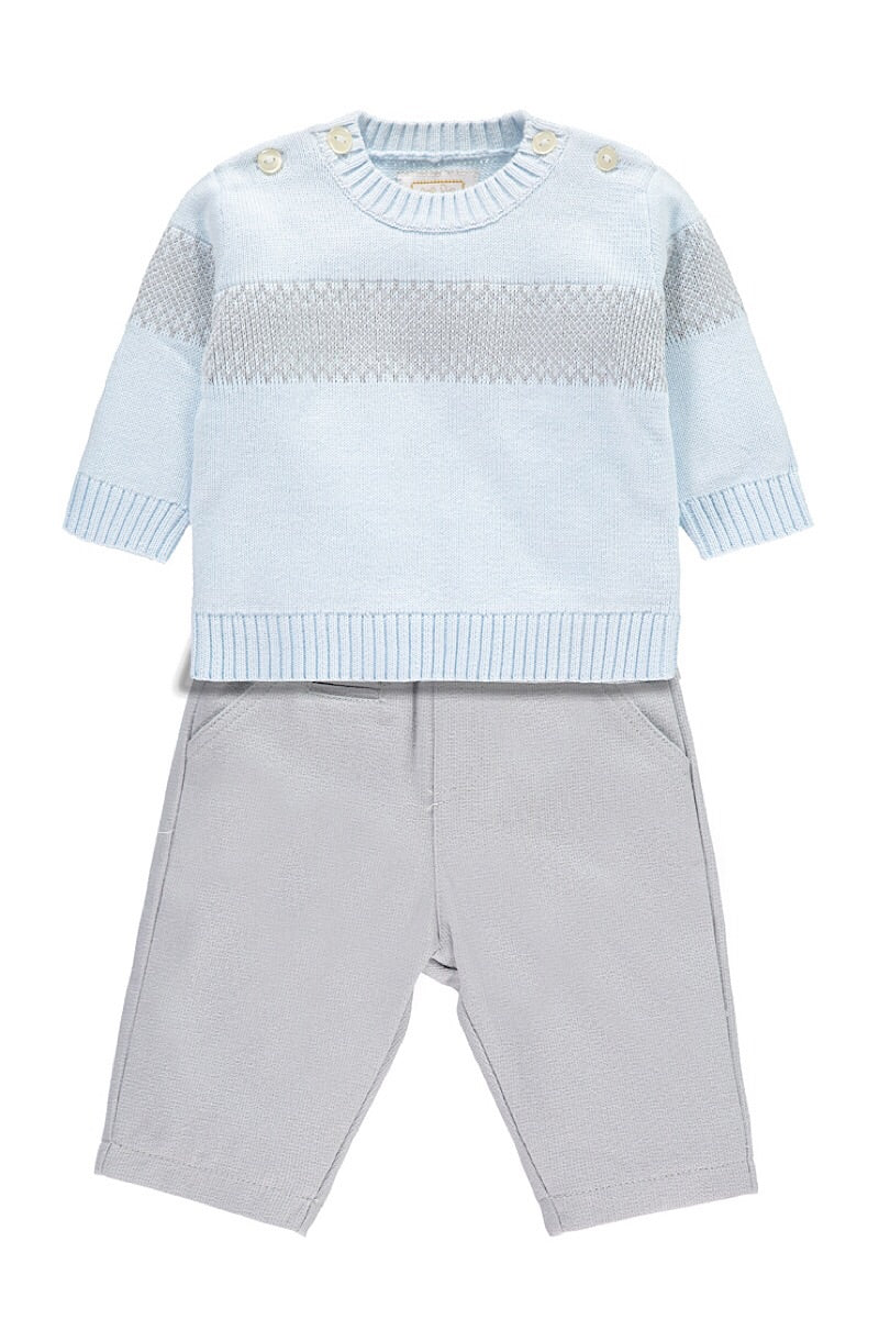 Emile Et Rose Grey And Blue Knitted Jumper And Trousers