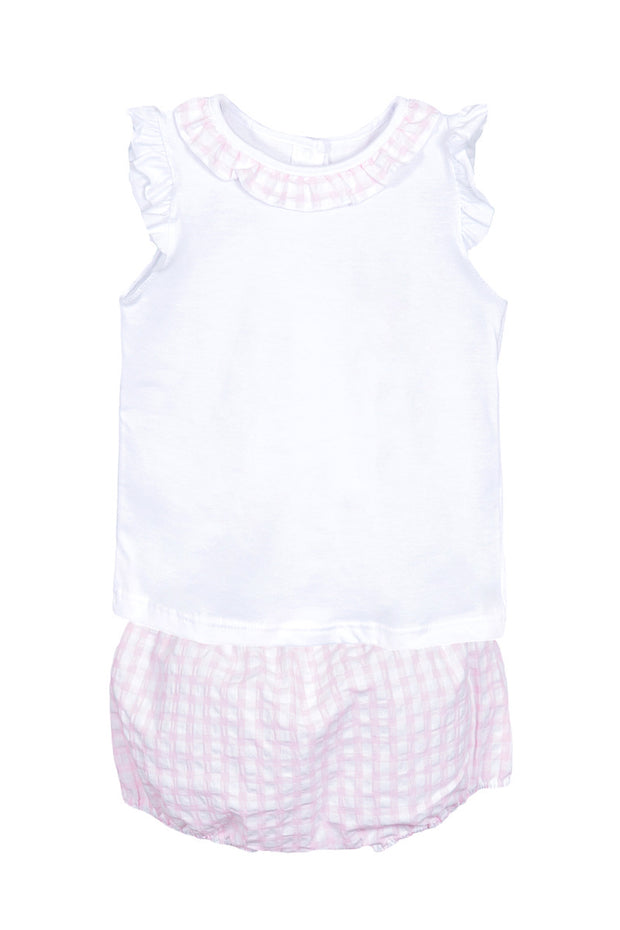 Pink Check Frill Top And Bloomers