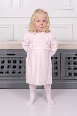 Emile Et Rose Pink Knitted Rose Dress With Tights