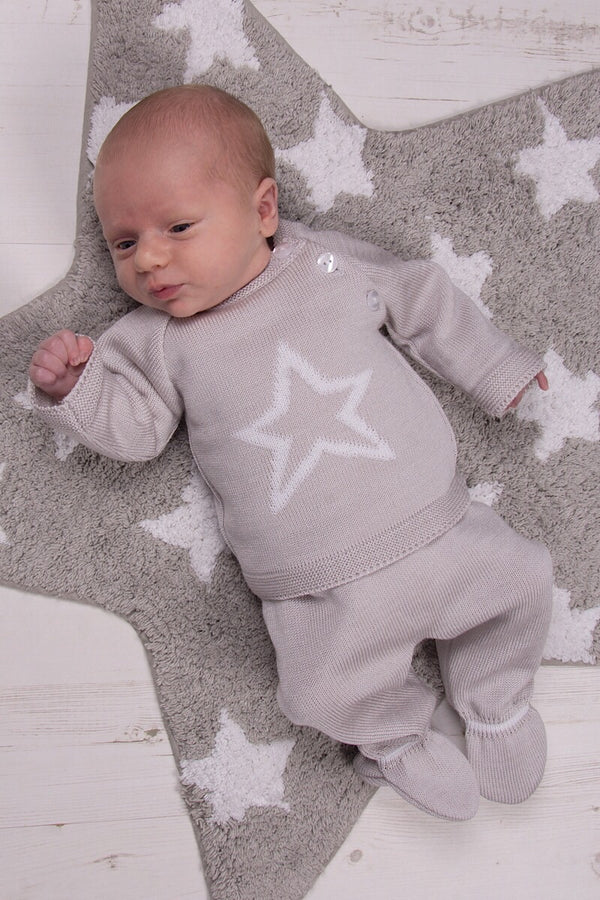 Grey Knitted Star Two Piece Set