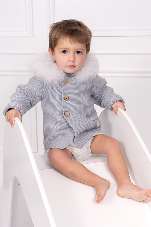 Pangasa Grey Knitted Fur Hood Coat