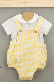 Yellow Check Romper And Bodysuit