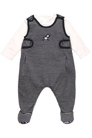 Navy Rocking Horse Dungaree With Rattle