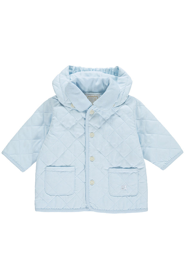 Blue Microfibre Quilted Jacket