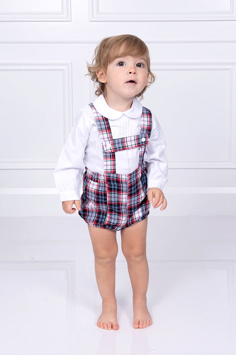 White Shirt With Tartan H-Strap Shorts