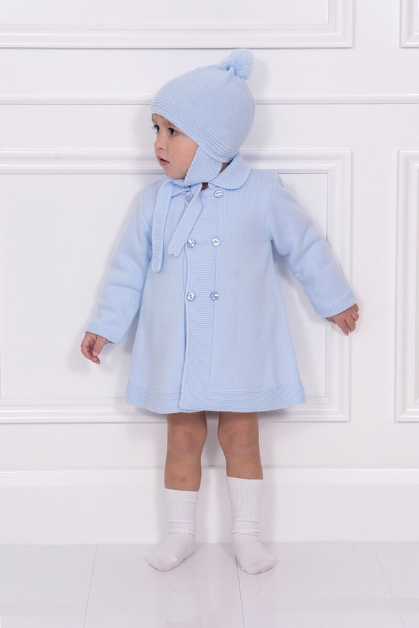 Granlei Blue Knitted Coat With Pom Pom Bonnet