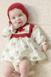 Red And White Tree Design Dress And Bloomers