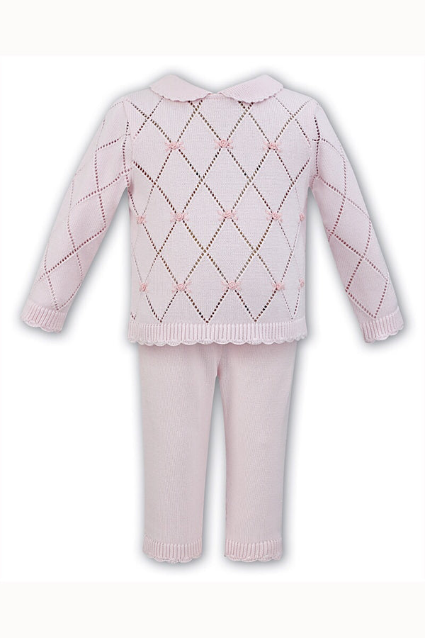 Dani Pink Pointelle Knit Jumper And Pants With Embellished Flowers