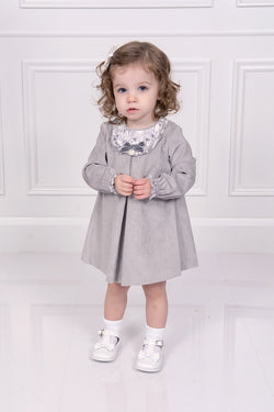Kiriki Grey Velour Floral Bib Design Dress