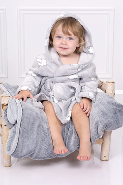 Grey And White Lamb Fleece Dressing Gown