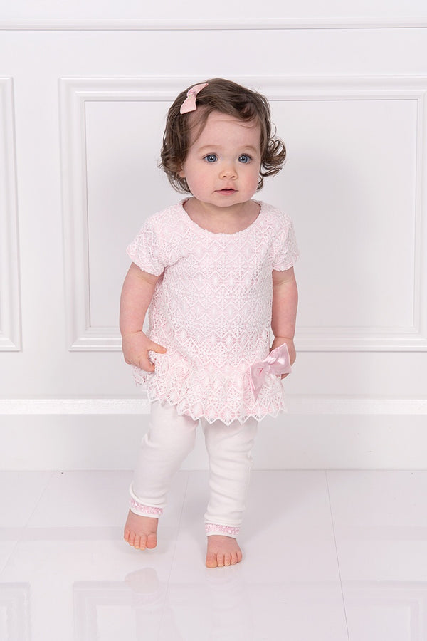Mintini Pink And White Crochet Bow Top And Leggings