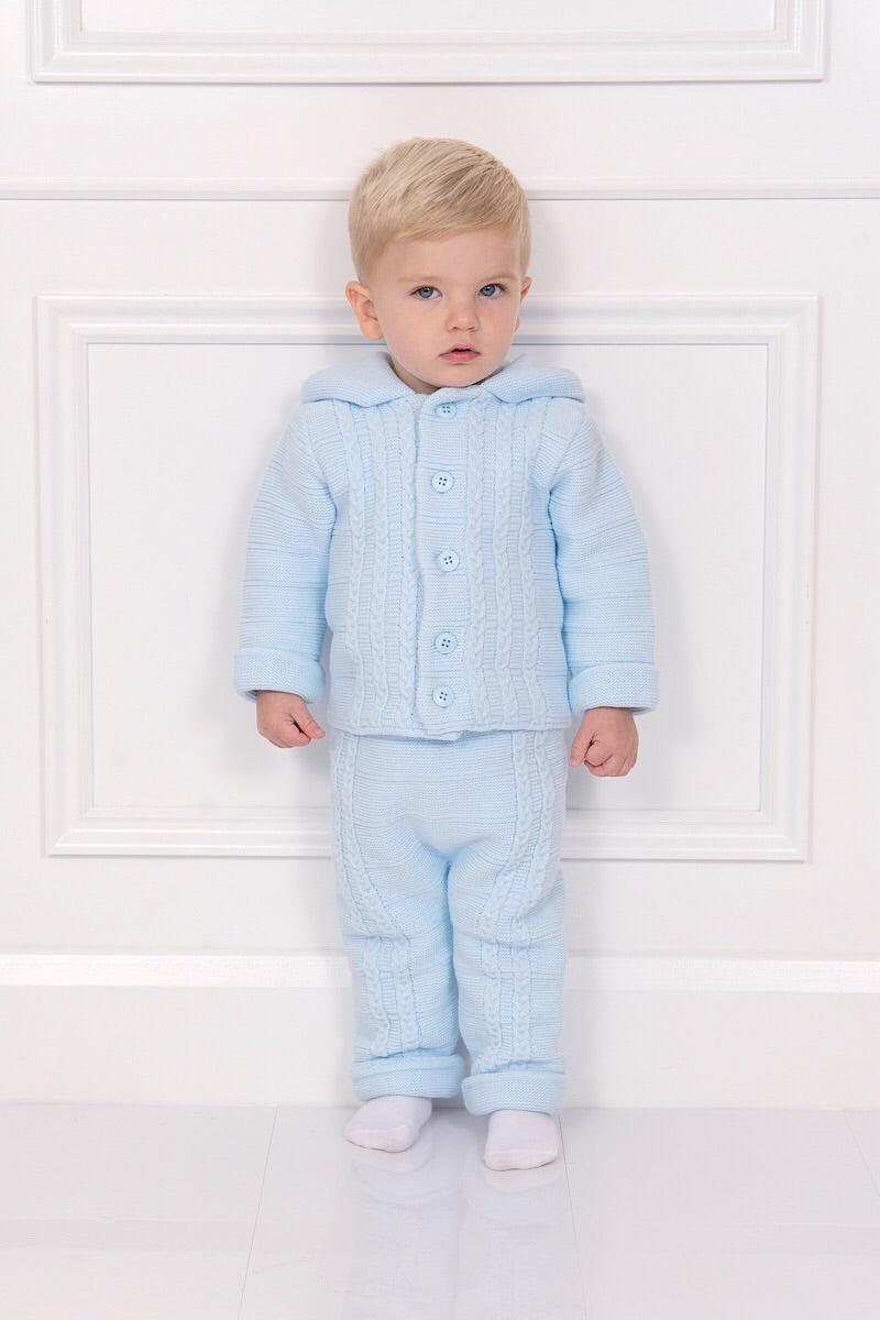 Blue Hooded Knit Cardigan And Trousers