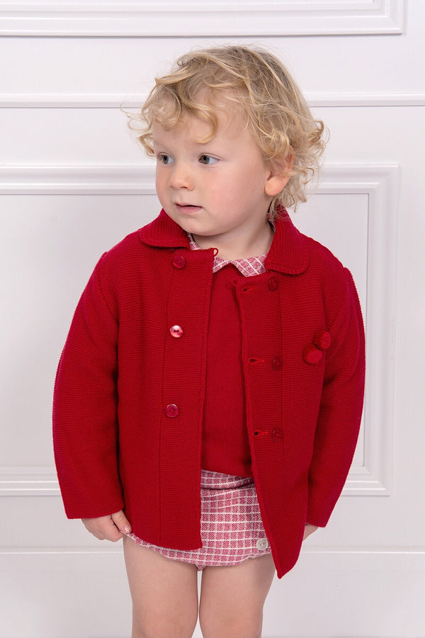 Granlei Knitted Red Pom Pom Coat