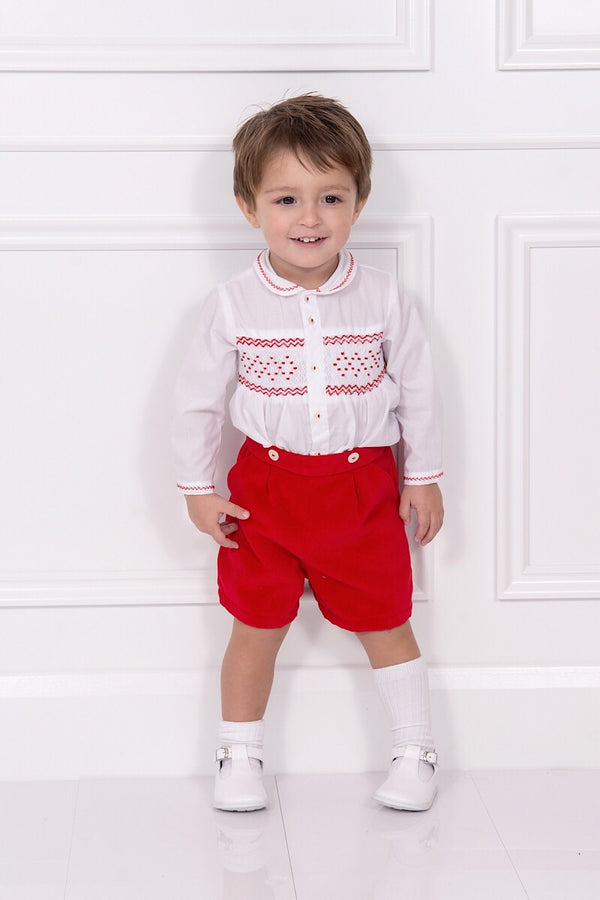 Sarah Louise Ivory And Red Smocked Two Piece Outfit