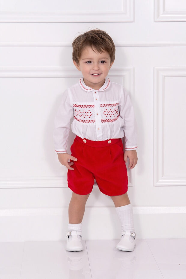 Ivory And Red Smocked Two Piece Outfit