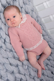 Rose Pink Knitted Lace Trim Jumper And Shorts