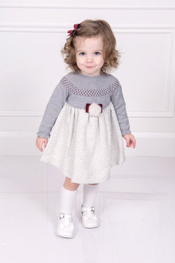 Granlei Grey Half Knit Spotted Pom Pom Dress