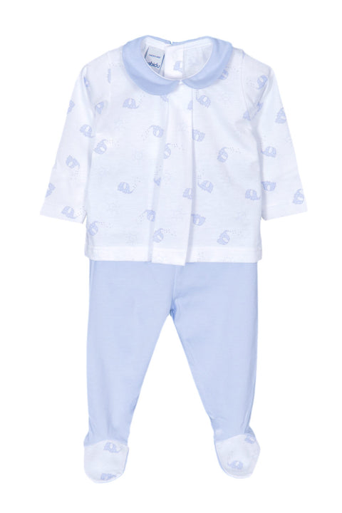 White And Blue Elephant Design Outfit