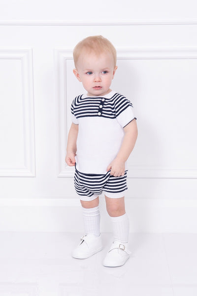 Jacob Matthews White And Navy Striped Top And Shorts
