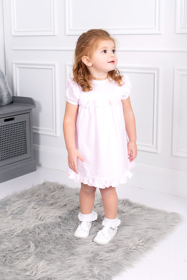 Pink Lace Bow Dress And Bloomers