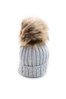 Grey Knitted Cable Hat With Dark Beige Fur Pom Pom