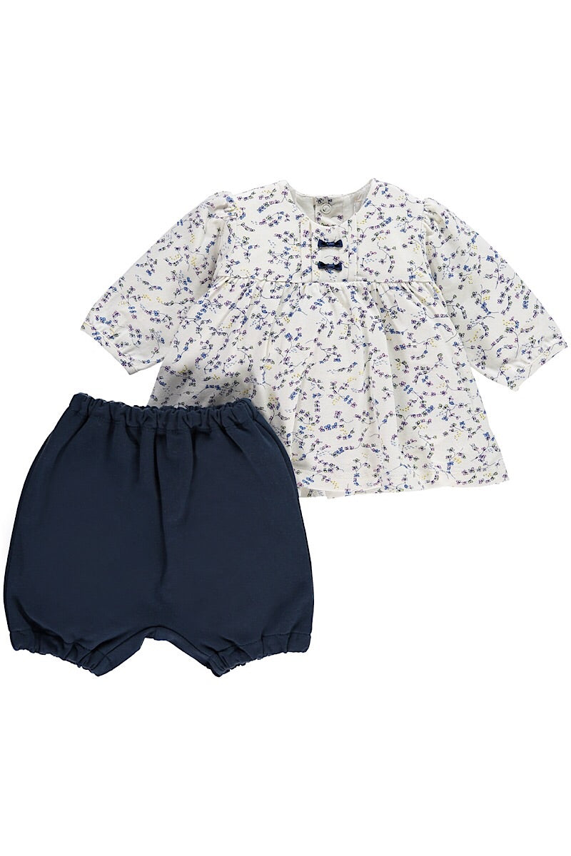 Emile Et Rose Floral Top With Navy Bloomers And Tights
