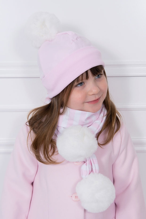 Pink Pom Pom Hat And Scarf