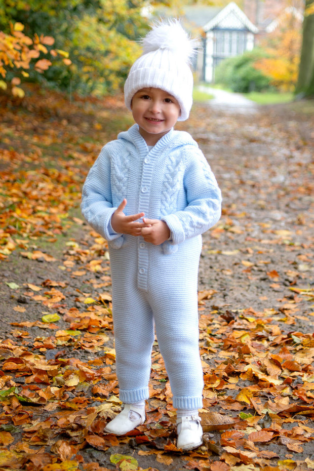 Blue Pom Pom Hooded Pramsuit