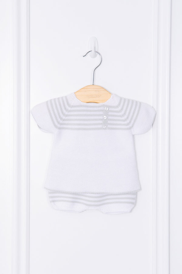 Jacob Matthews Knitted White And Grey Striped Outfit