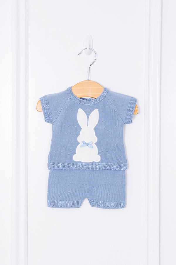 Blue Knit Bunny Top And Shorts