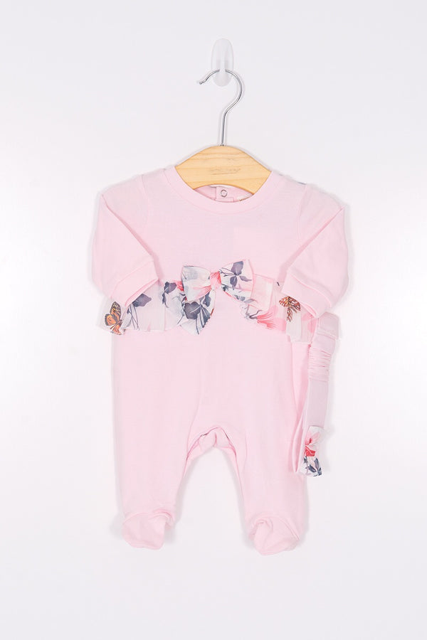 Mintini Pink Butterfly Frill All In One With Headband