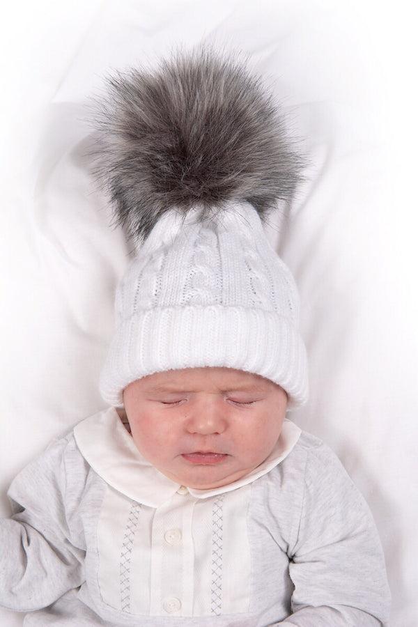 White Cable Knitted Hat With Dark Grey Pom Pom