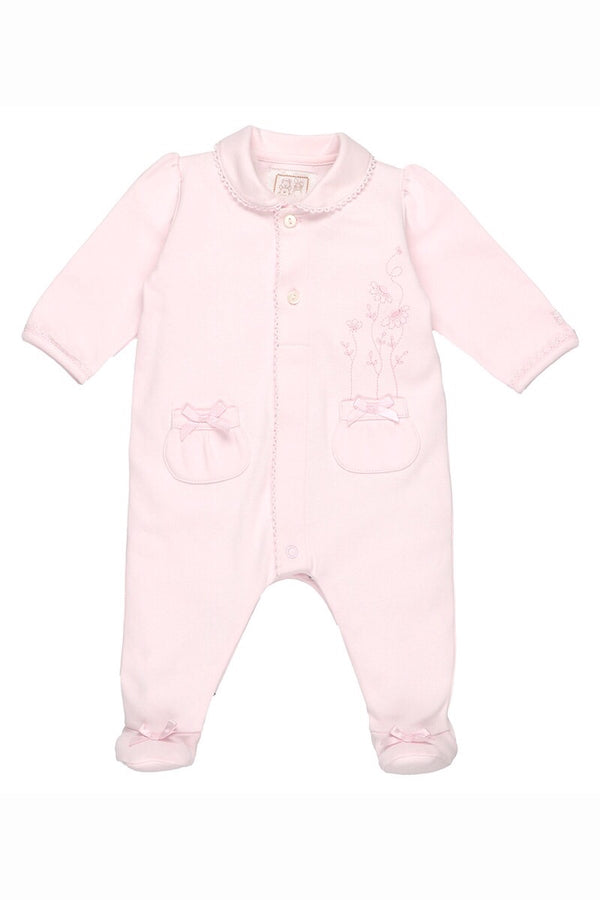 Emile Et Rose Pink Double Pocket Embroidered Flower All In One