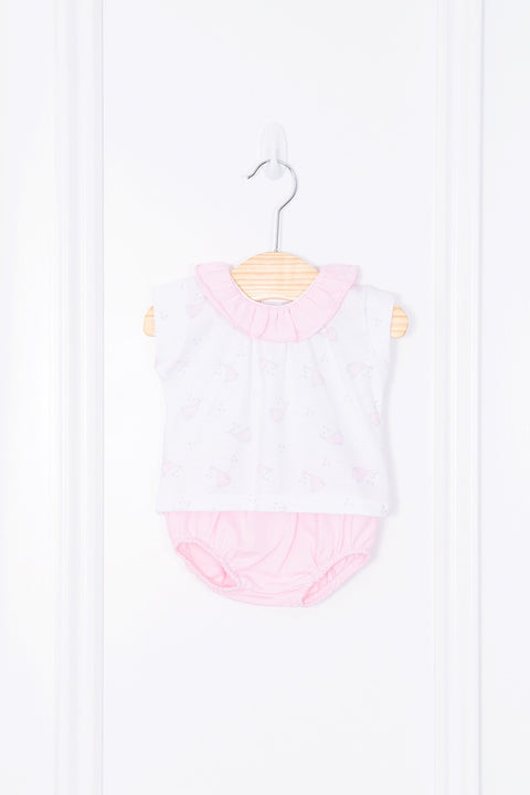 Pink Whale Design Top And Shorts
