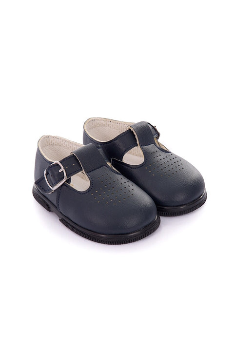 Navy Hole Punch Buckle Hard Sole Shoes