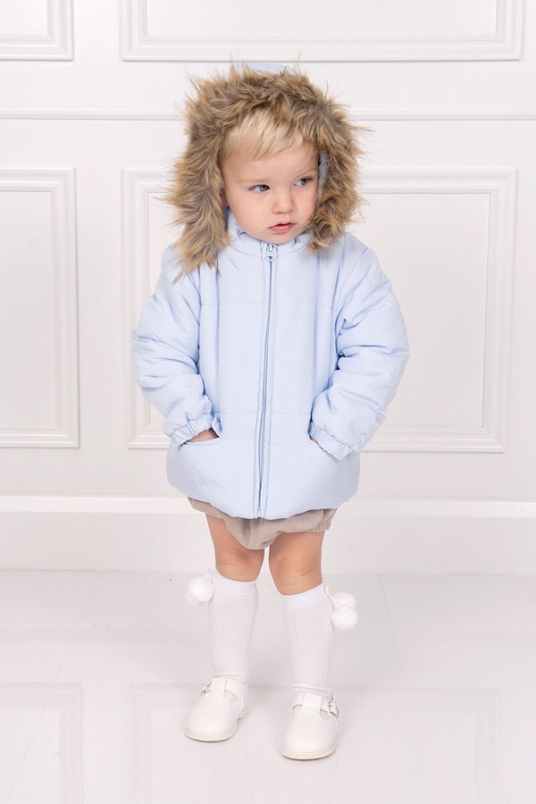 Mintini Blue Puffa Coat With Fur Trim Hood