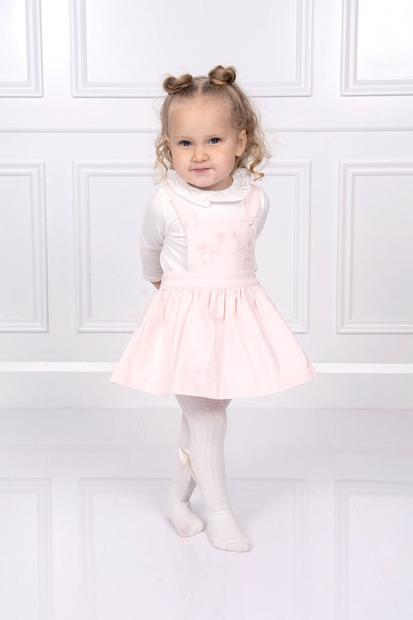Patachou Pink Embroidered Corduroy Dress With Ivory Ruffle Top