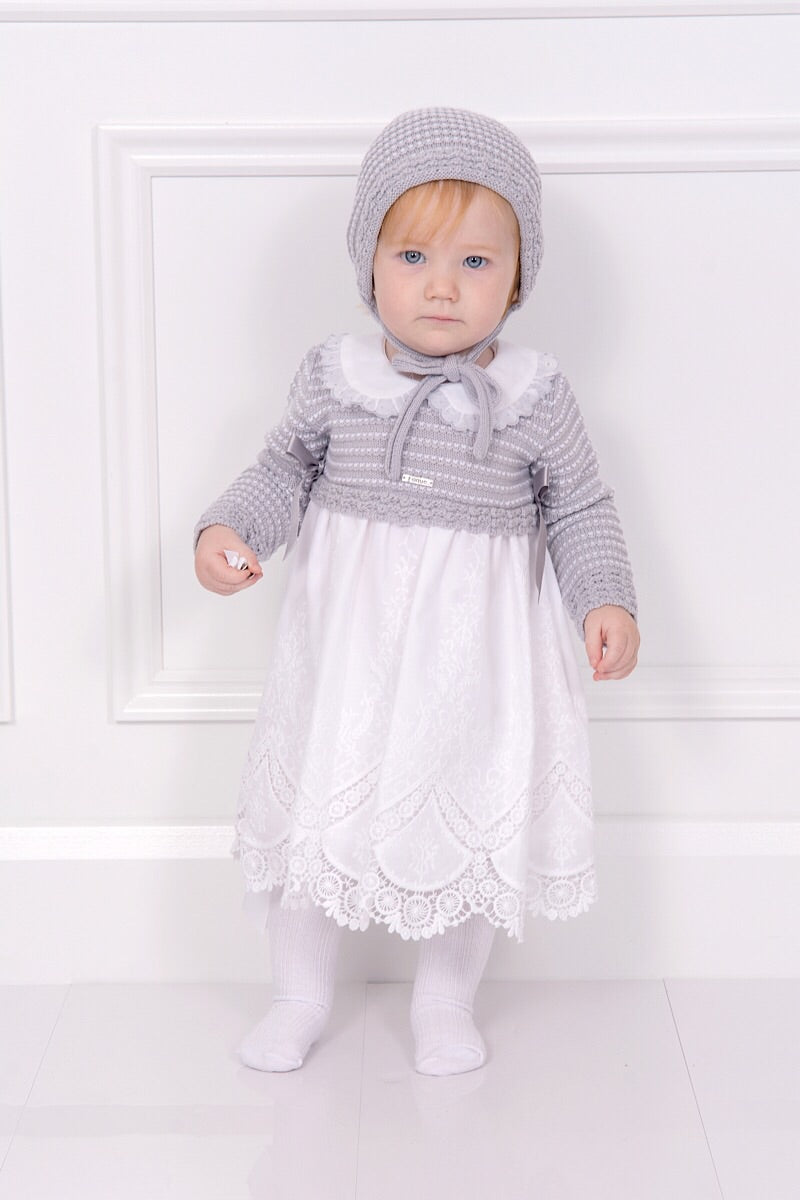 Foque Grey And White Knitted Bow Dress And Bonnet