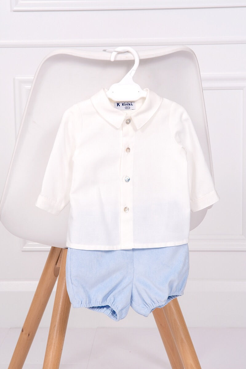 Kiriki Cream Shirt And Blue Velour Shorts